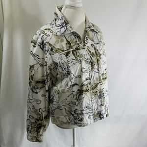 Chicos Women's Jean Jacket White Floral